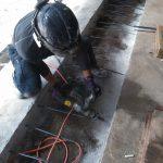 埼玉県内の排水ポンプ場にてあと施工アンカー打設をしてきました。